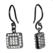 925 Silver Cubic Zirconia Halo Square Cluster Dangling Tiny Earring - $16.09