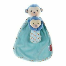 Nwt Fisher Price Cuddler Rattle Security Blanket Blue Monkey Polka Dot Trim - $17.76