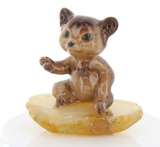 Hagen Renaker Miniature Baby Bear Cub Sitting on Base Stepping Stones #2762