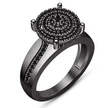 Engagement Women's Ring Round Cut Sim Diamond Black Gold Plated Pure 925... - $106.83 CAD