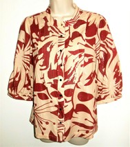 BCBG Max Azria Top  L 10 12 NEW Womens Floral Red Beige Metallic Shimmer... - $26.99