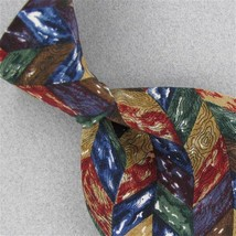 Structure Green Gold Purple Geometric Silk Men Short Neck Tie #Z1-166 Excellent - $15.83