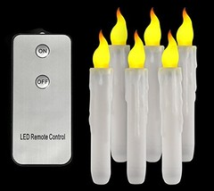 Led Amber Flickering Remote Control Taper Candle Battery Operated Flameless - $15.99