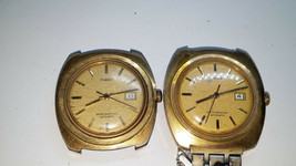 Lot Of 2 1975 Timex Automatic Date Watches Running For Repair Or Parts Case Worn - $125.00