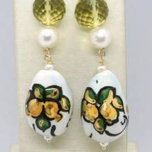Yellow Gold Earrings 750 18k with Pearls and Drop Hand Painted Made in Italy image 2