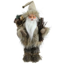 "Northlight 13"" Alpine Chic Beige Gray Santa Snowshoes Gift Bag Christmas... - $18.50"