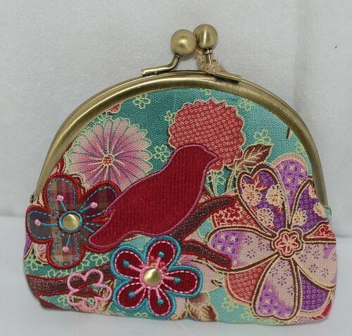 Karma Brand KA100533 Red Bird Floral Lock Coin Purse With Card Slots