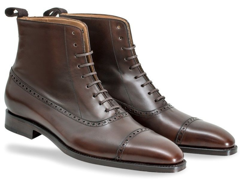 Men Two Tone High Ankle Laceup Handmade Rounded Plain Toe Genuine Leather Boots