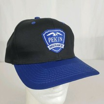 Pekin Insurance Snapback Hat Cap Embroidered Blue Black Twill Cotton Blend - $18.95