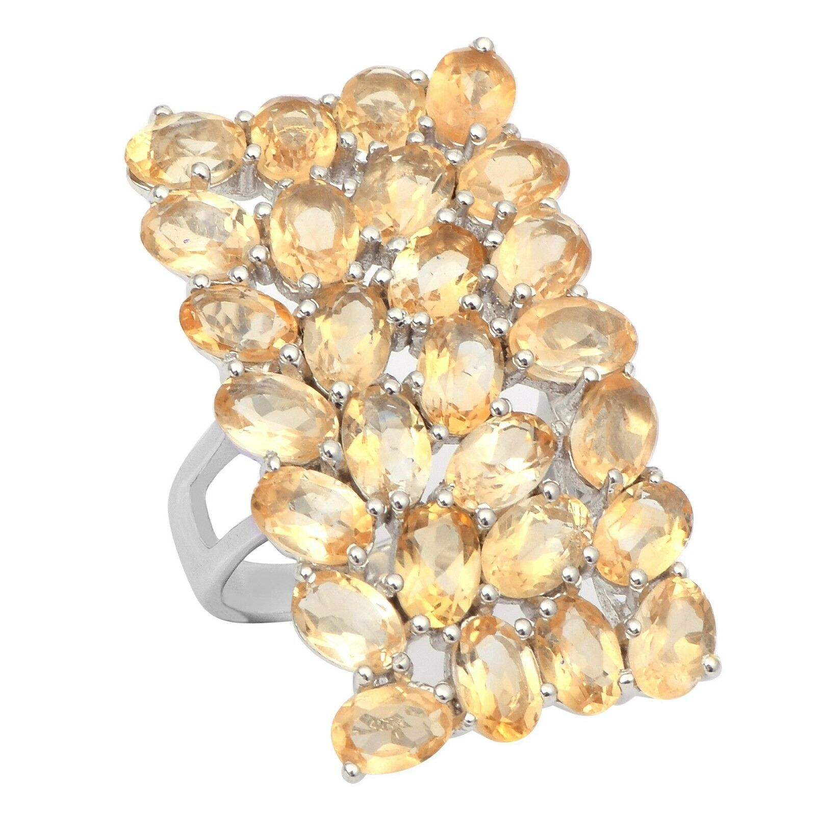 925 Silver 4 Row Citrine Gemstone Statement Split Shank Women Long Finger Ring
