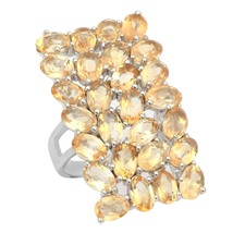 925 Silver 4 Row Citrine Gemstone Statement Split Shank Women Long Finge... - $68.74
