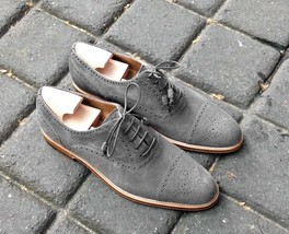 Handmade Men's Gray Heart Medallion Lace Up Dress/Formal Suede Oxford Shoes image 1