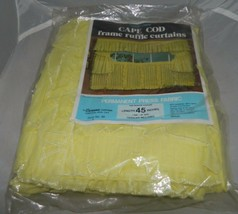 "Vintage CORONA Curtain Cape Cod Frame Ruffle 45"" 1 Pair 60"" Wide Yellow - $29.70"