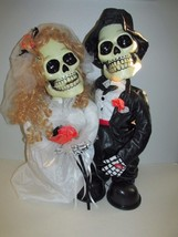 "Halloween Wedding Skeleton Skull Bride and Groom 19"" Figures - £53.02 GBP"