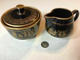 Vintage Neofitou Greece Black 24 Kt Gold Creamer Sugar Set Hand Made SKU... - $40.99