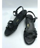 SAS 11 W 11W Strippy Black Patent Leather Strappy Wedge Sandals Shoes - $39.99