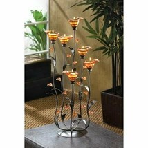 Elegant Candle Holder Amber Calla Lily Flower Bunch Tealight Home Stylis... - $53.41