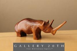 MID CENTURY ROSEWOOD RHINOCEROS SCULPTURE! Vtg Africa Atomic Modern Art ... - €185,35 EUR