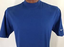 Nike Fit Dry White Swoosh Blue Graphic T Shirt Cotton Blend M Medium - $13.30