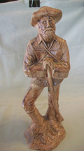 VINTAGE CERAMIC MOUNTAIN MAN WITH RIFLE, HAND MADE, HAND PAINTED - $37.12