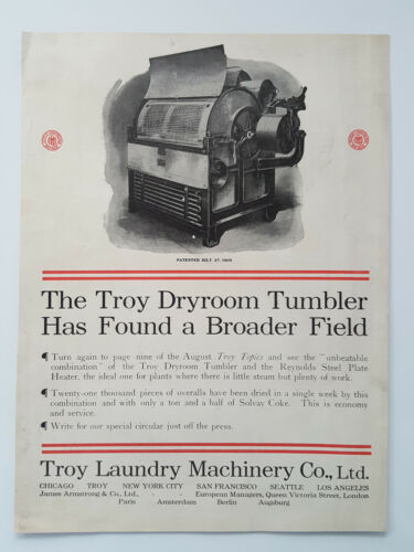 Primary image for 1911 Troy Laundry Machinery Dryroom Tumbler Plate Heater Vtg Magazine Print Ad