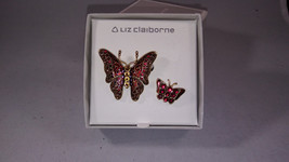 Liz Claiborne Vintage Iridescent Enamel/ Red Crystals Brooch Lapel Pin Set Mint - $18.70