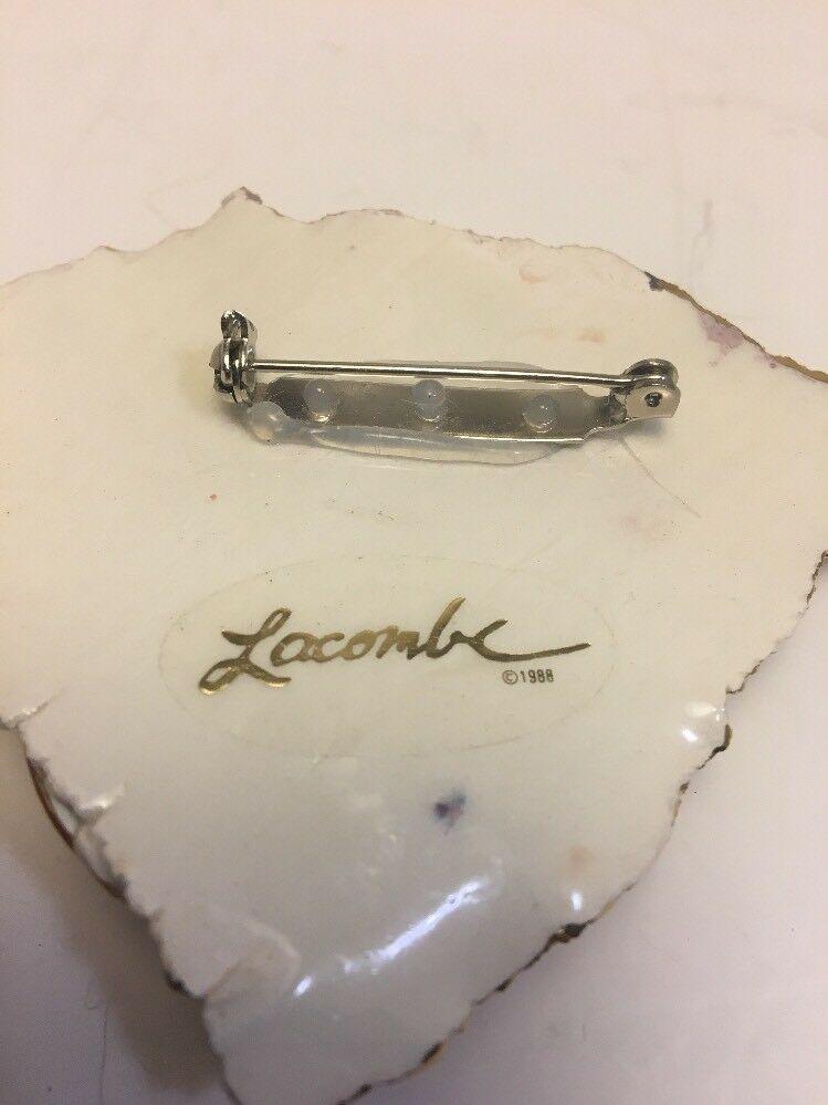 Vintage Amy Lacombe 1988 Ceramic Pin Earring Set Pink Gold LA Artisan