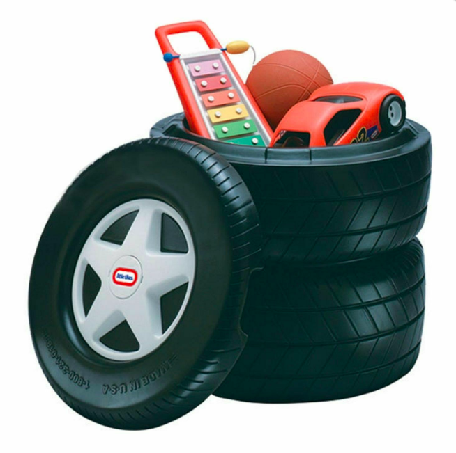 Primary image for Little Tikes Classic Racing Tire Toy Chest Black New