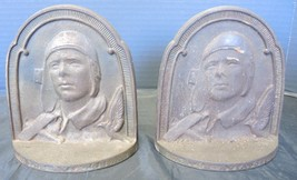 Antique Charles Lindbergh The Aviator Bronzed Book Ends - $61.74