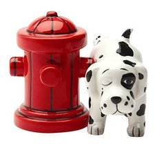 Pacific Trading Dalmation Dog with Fire Hydrant Ceramic Magnetic Salt & ... - $12.86
