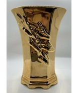 Vtg McCoy Pottery Gold Over Chartreuse Glaze With Raised Ivy Leaves Chri... - $29.70