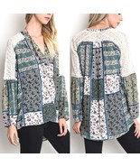 Umgee Top Size XL S M L Patchwork Print Lace Tunic Long Sleeve Womens Sh... - $29.99