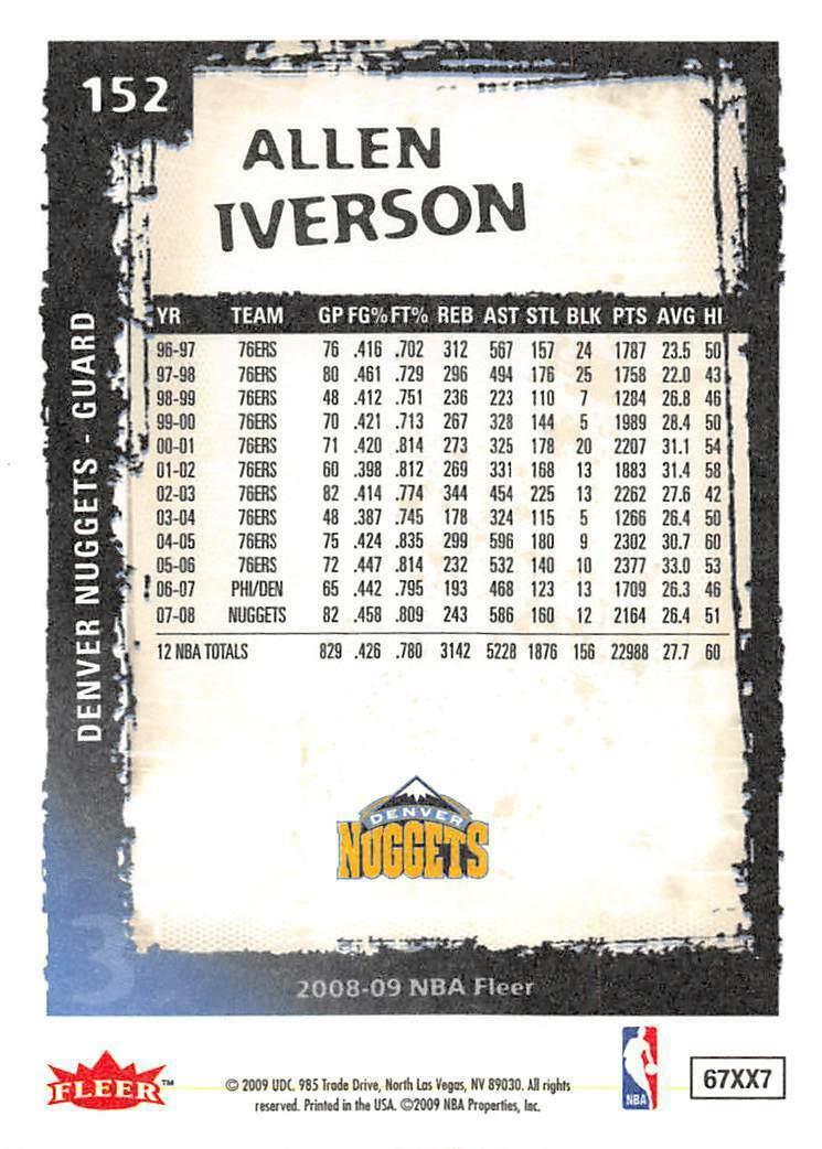 2008-09 Fleer #152 Allen Iverson > Denver Nuggets > The Answer