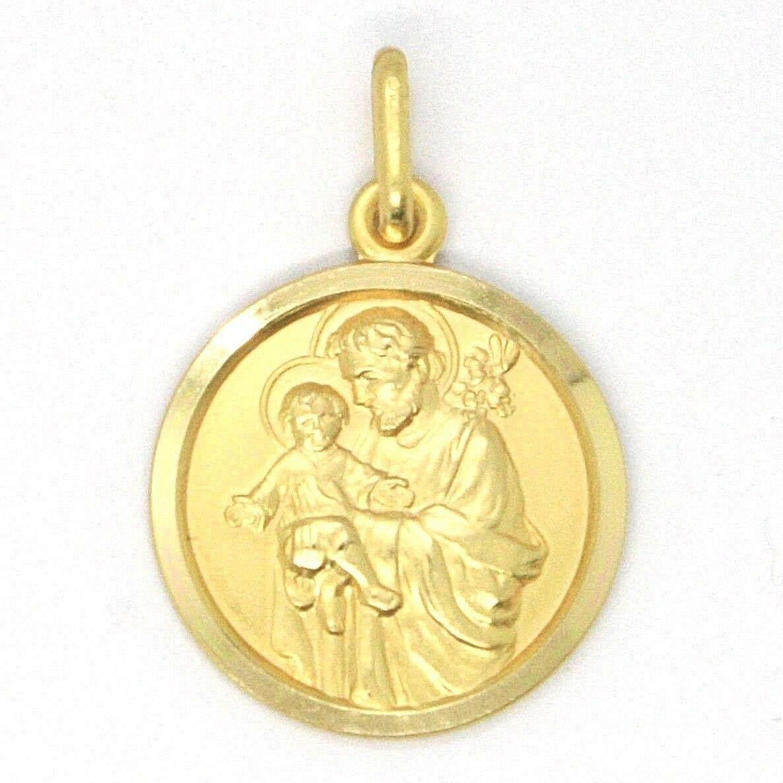 18K YELLOW GOLD ST SAINT SAN GIUSEPPE JOSEPH JESUS MEDAL MADE IN ITALY, 15 MM