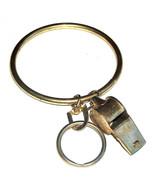 "Large PE Gym School Teachers 3"" Metal Gold Tone Wrist, Key Ring & Whistl... - $16.81"