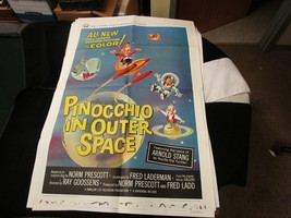 Movie Travel Poster Pinocchio In Outerspace 1965 Disney Visit Universal ... - $241.76