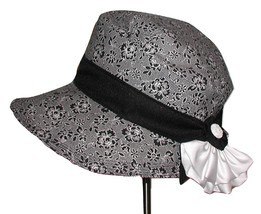 Black And White Wedding Hat, Black White Roses Hat, Black White Pink Ros... - $69.99