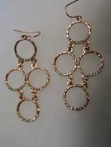 Copper Tone Diamond Tone Gems Dangling Pierced Earrings Costume Jewelry - $10.66