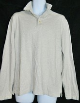 Gap Polo Shirt Button Neck Long Sleeve Beige Tan Men's size Medium - $18.78
