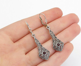 925 Sterling Silver - Vintage Petite Garnet Swirl Pattern Drop Earrings ... - $26.34