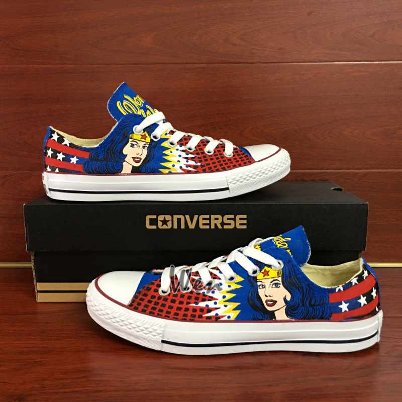 Converse Wonder Woman Low Top Hand Painted Canvas Shoes Unique Present Men Women