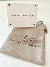 David Yurman Silver 14k Gold Cable Classics 16mm Hoop Earrings $475 AUCTION - $215.00