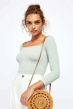 Free People Women Square Neck 3/4 Sleeve Top X-Small Color Sage NWT $40 - $19.80