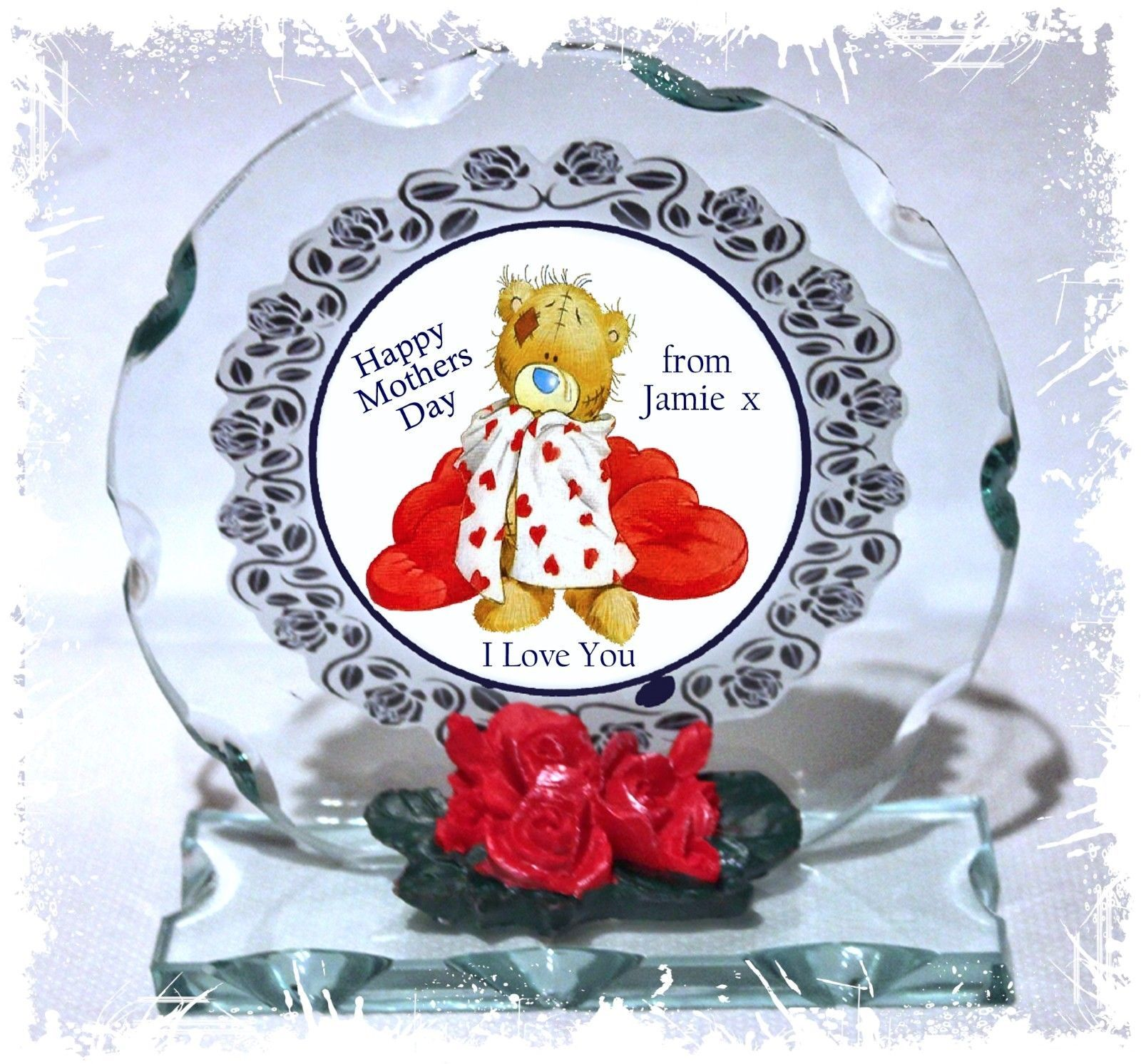 Teddy Bear, Mother's Day Gift, Photo Cut Glass Round Plaque Christmas Edition #1