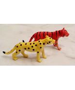 Miniature Orange Black Tiger and Yellow Black Cheetah Animal Figurine Set - $2.96
