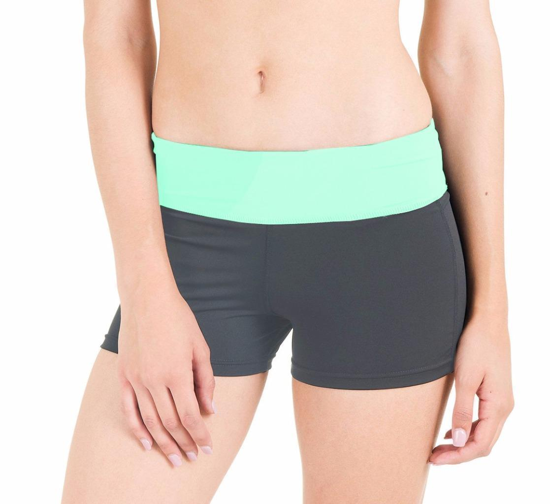 BRAND NEW FLEX WOMEN'S ATHLETIC SPORT WORK OUT GYM CARDIO SHORTS GREY GREEN 5505