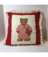 """Teddy Bear in Striped Nightshirt Finished Cross Stitch Pillow Red 16"""" Sq... - $24.18"""