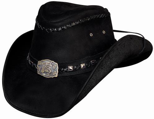 Primary image for Bullhide Thunder Struck Leather Cowboy Hat Engraved Motorcycle Concho Black