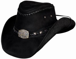 Bullhide Thunder Struck Leather Cowboy Hat Engraved Motorcycle Concho Black - $84.00