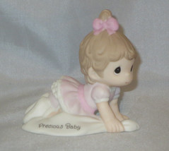 Precious Baby Girl Moments Crawling Brunette Hair Pink Dress Bow Figurin... - $36.62